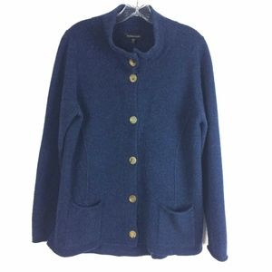 Eileen Fisher Blue Lambs Wool Cashmere Cardigan